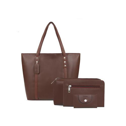 Toteteca brown leatherette combo handbag