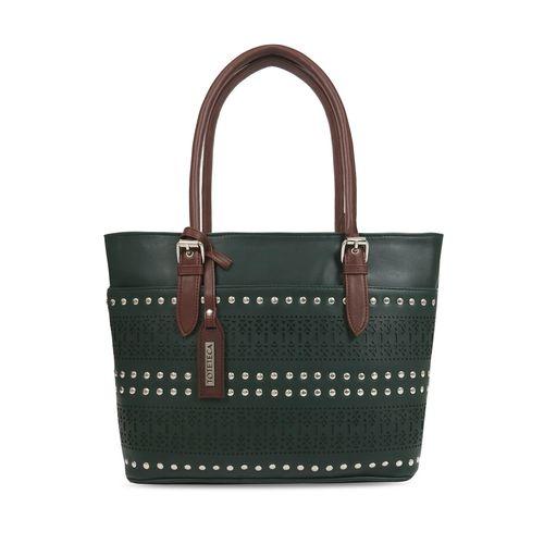 Toteteca green leatherette regular handbag
