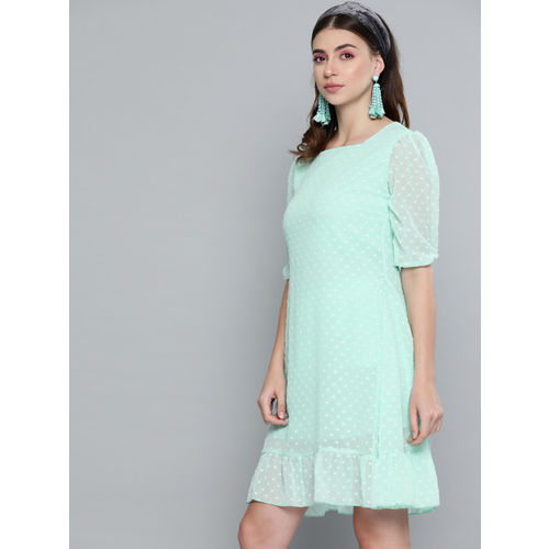 SASSAFRAS Women Sea Green Dobby Weave A-Line Dress