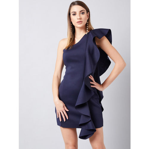 Athena Women Blue Solid Ruffled Sheath Dress