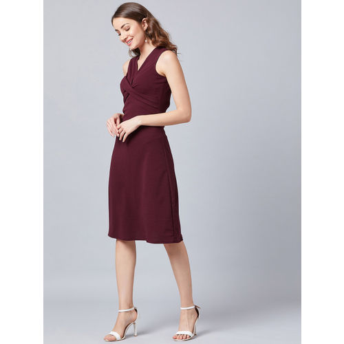 Athena Women Solid Burgundy Fit and Flare Dress