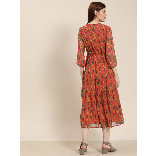 all about you Women Printed Orange Fit and Flare Dress