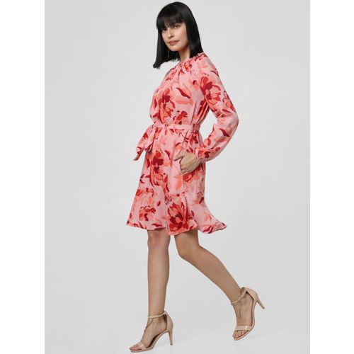 Vero Moda Women Pink & Burgundy Floral Print Fit and Flare Dress