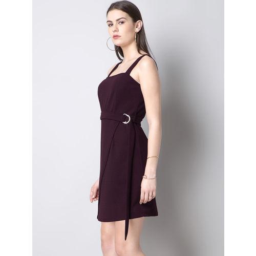 FabAlley Women Burgundy Solid Sheath Dress