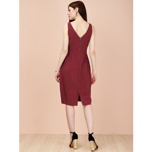 all about you Women Solid Maroon A-Line Dress