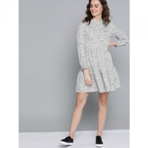 Mast & Harbour Women White & Black Polka Dots Printed Shift Dress