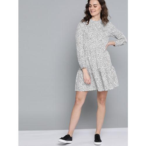 Mast & Harbour Women White & Black Polka Dots Printed Shift Dress