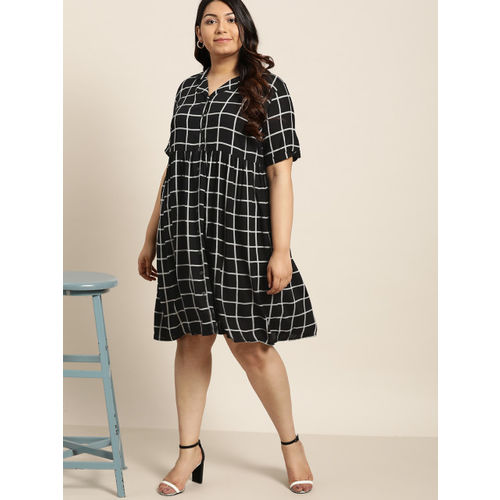 Sztori Women Black & Grey Checked Shirt Dress