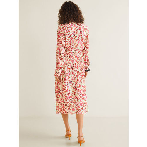 MANGO Women Pink & Off-White A-Line Dress