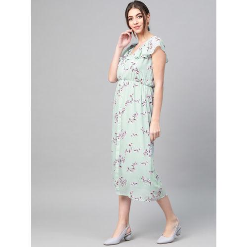 SASSAFRAS Women Blue & Pink Printed Empire Dress