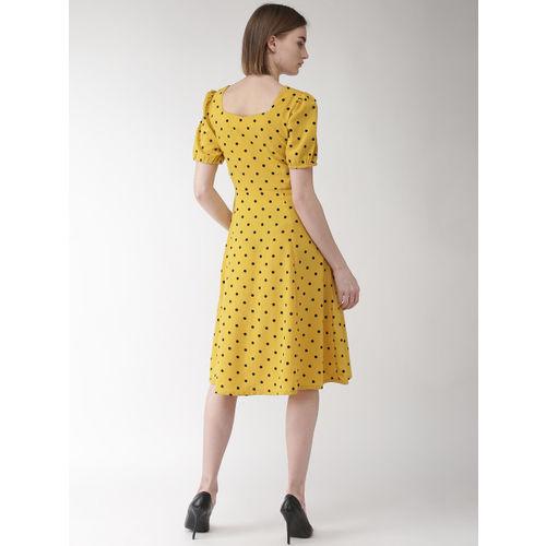 plusS Women Mustard Yellow & Black Polka Dot Printed Fit & Flare Dress