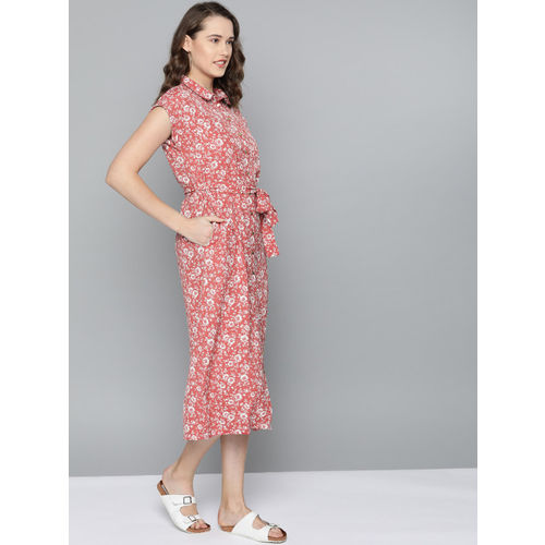 Mast & Harbour Women Pink & White Floral Printed Shirt Dress