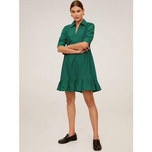 MANGO Women Green Solid A-Line Dress