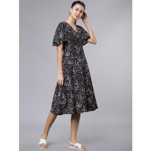 Tokyo Talkies Women Navy Blue Leopard Printed Fit and Flare Dress