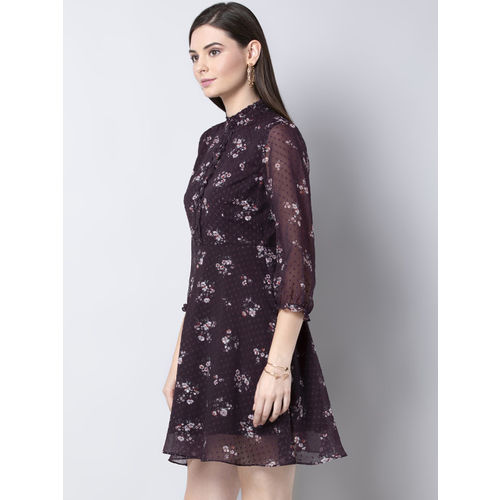 FabAlley Women Purple & Red Floral Printed Fit and Flare Dress