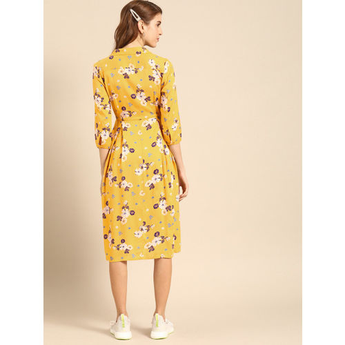 DressBerry Women Mustard Yellow & White Floral Print Shirt Dress