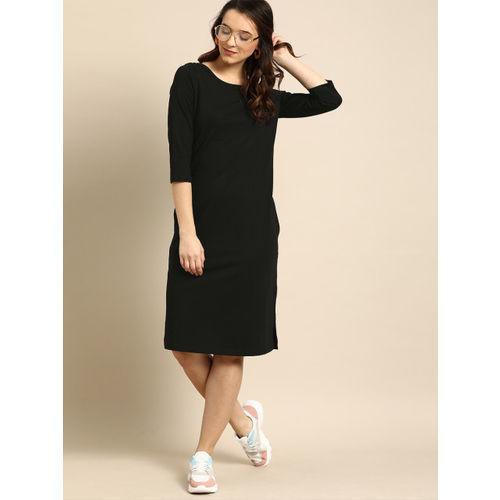DressBerry Women Black Solid Sheath Dress