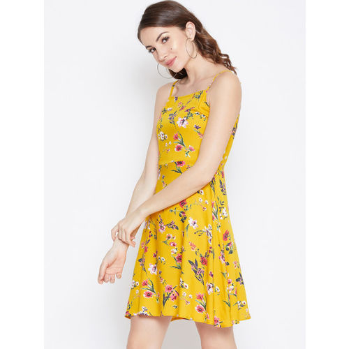 Berrylush Women Yellow Floral Print Fit and Flare Dress