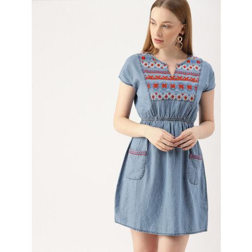 DressBerry Women Blue Embroidered Denim A-Line Dress