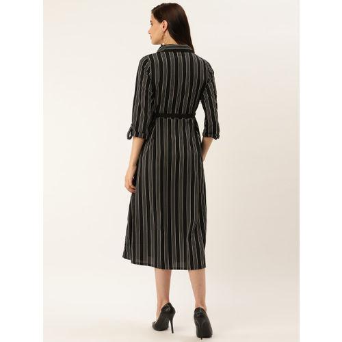 plusS Women Black & White Striped Shirt Dress