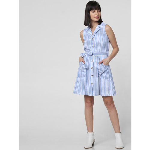 Vero Moda Women Blue & White Striped Shirt Dress