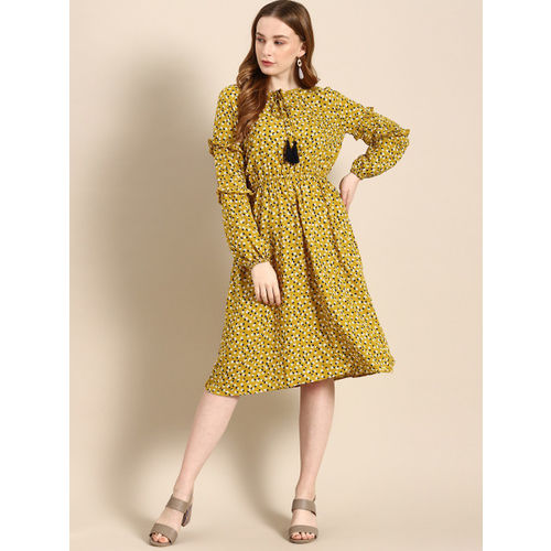 DressBerry Women Mustard Yellow & White Floral Print Fit and Flare Dress