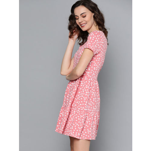 Mast & Harbour Women Pink & White Floral Printed A-Line Dress