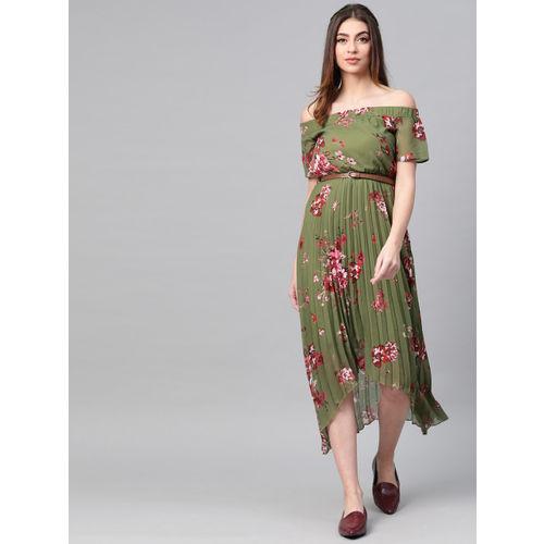 SASSAFRAS Women Olive Green & Pink Off-Shoulder Accordion Pleat Printed Empire Dress