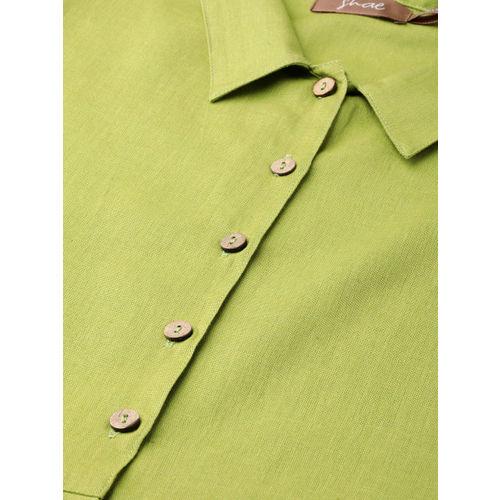 Shae by SASSAFRAS Women Green Solid Shirt Dress