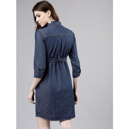 Tokyo Talkies Women Solid Navy Blue Shirt Dress