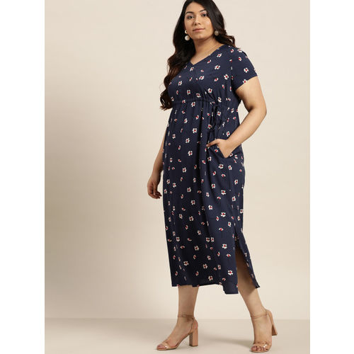 Sztori Women Navy Blue & White Floral Print Maxi Dress