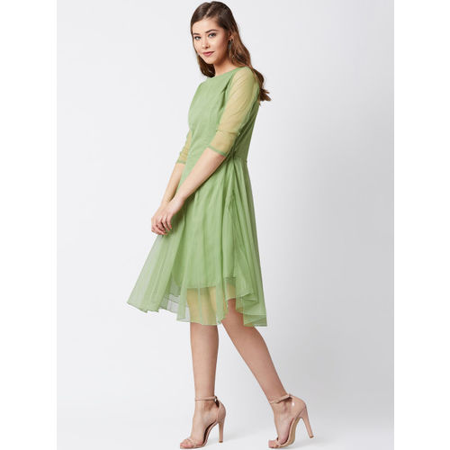 U&F Women Green Solid Fit and Flare Dress