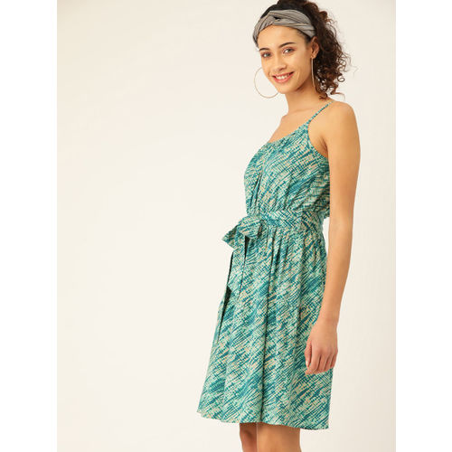 DressBerry Women Green Tiered Printed A-Line Dress