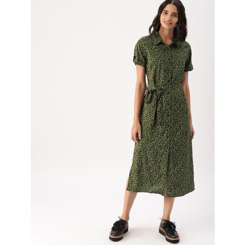 DressBerry Women Olive Green Printed Shirt Dress