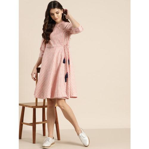 Sangria Women Pink & White Striped Wrap Dress