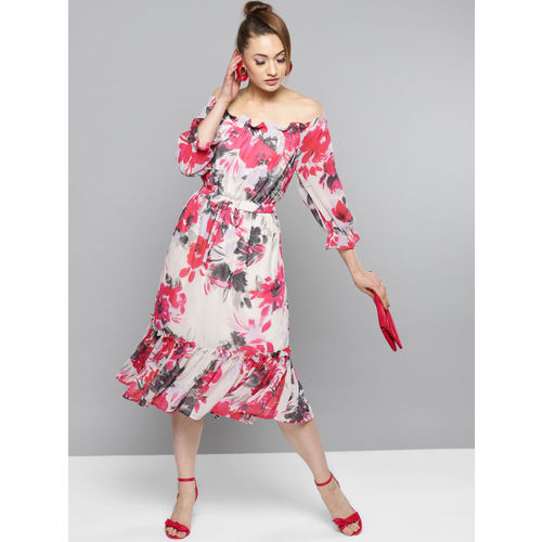 RARE Women White & Pink Printed Midi A-Line Dress