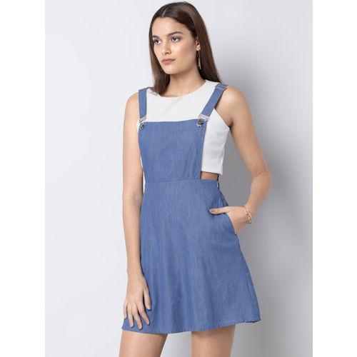 FabAlley Women Blue Solid Pinafore Dress
