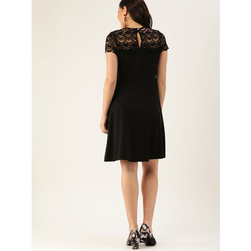 DressBerry Women Black Solid A-Line Dress With Lace Inserts