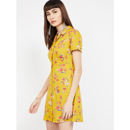 Ginger by Lifestyle Women Mustard Floral Printed Shirt Dress
