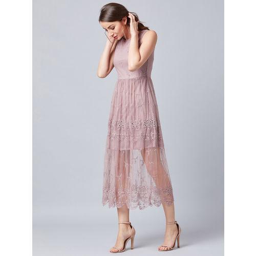 Athena Women Self Design Mauve Fit and Flare Dress