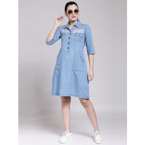 plusS Women Blue Solid A-Line Dress