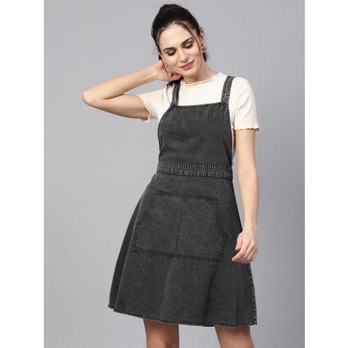 SASSAFRAS Women Charcoal Grey Chambray Solid Pinafore Dress