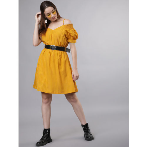Tokyo Talkies Women Mustard Yellow Solid Fit and Flare Dress