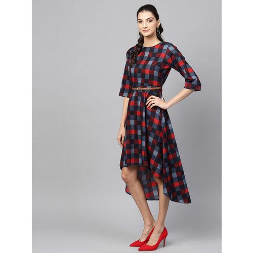 SASSAFRAS Women Red & Navy Checked A-Line Dress