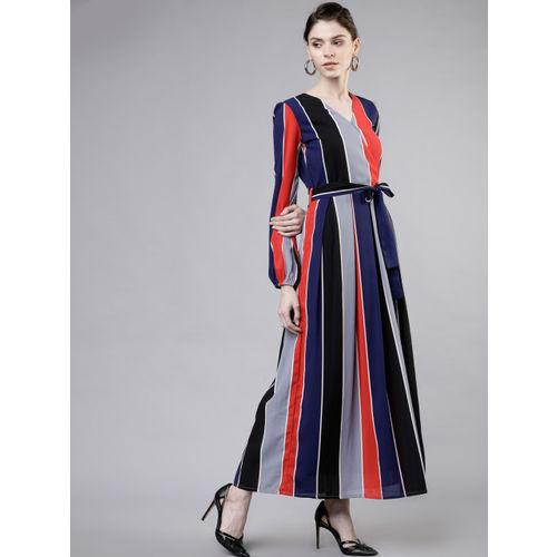 Tokyo Talkies Women Red Striped Maxi Dress