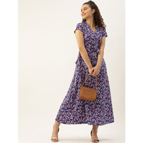 DressBerry Women Blue & White Floral Printed Maxi Dress