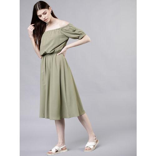 Tokyo Talkies Women Solid Olive Green Blouson Dress
