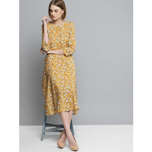 Marie Claire Women Mustard Yellow Printed Fit & Flare Dress