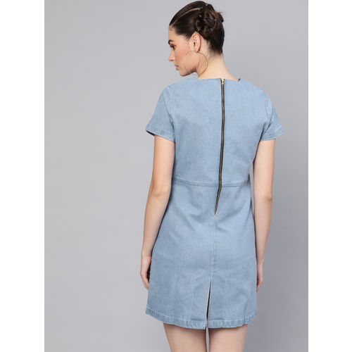 SASSAFRAS Women Blue Solid Denim Shift Dress