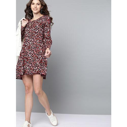 Mast & Harbour Women Black & Pink Floral Print A-Line Dress